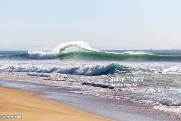 big waves day - aquitaine stock photos and pictures