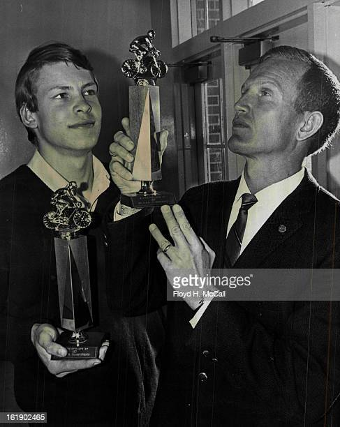 NOV 6 1967 NOV 7 1967 NOV 8 1967 Big Wheels In Competitive Cycling John Prieditis left and Jim Crist received tandem juniorsenior trophies for season...