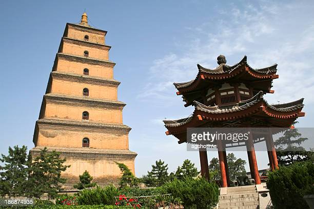 big wild goose pagoda and pavilion - pagoda stock pictures, royalty-free photos & images