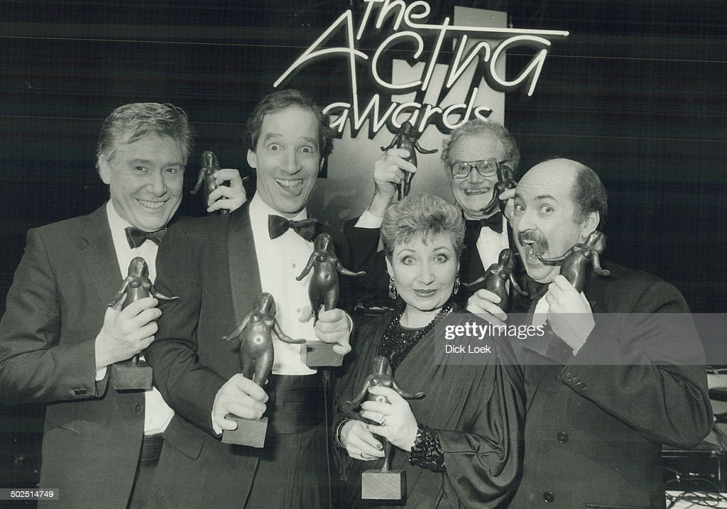 The Royal Canadian Air Farce's John Morgan; Don Ferguson; Luba Goy; Dave Broadfoot and Roger Abbott happily clutch the Nellie statuettes presented to them at the first annual ACTRA National Radio Awards; which took place at the St. Lawrence Centre last night. The show was carried live across the country on CBC Radio.