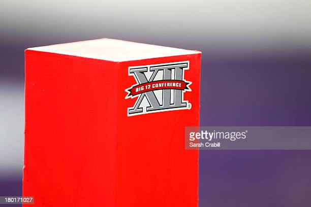 Big XII logo is seen on a pylon during a game between the TCU Horned Frogs and the Southeastern Louisiana Lions at Amon G Carter Stadium on September...