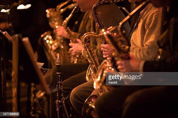 bigband: saxophone section of a jazz band in concert