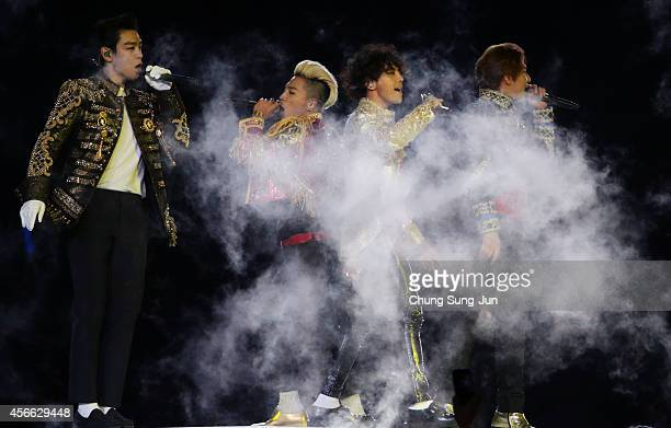 Bigbang perform during the Closing Ceremony of the 2014 Asian Games at Incheon Asiad Stadium on October 4 2014 in Incheon South Korea