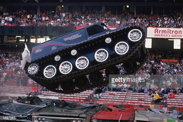 Bigfoot Fastrax crushes cars during the monster truck rally at Anaheim Stadium in 1989 in Anaheim California Photo by Tim Defrisco/Getty Images