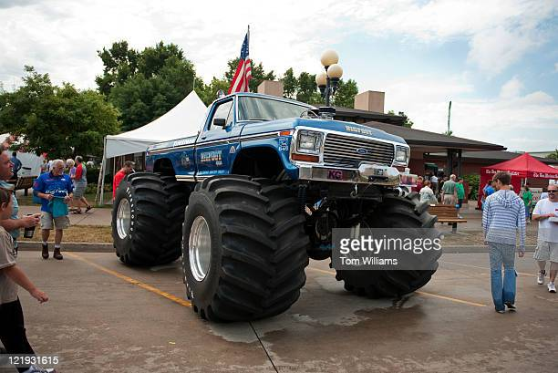 Bigfoot monster truck is on display at the Iowa State Fair in Des Moines Iowa