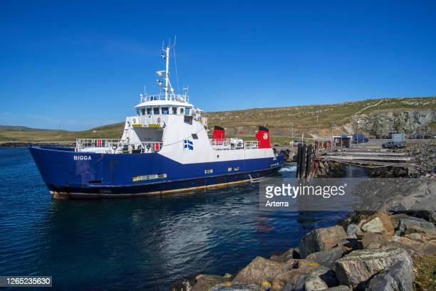 Bigga, passenger and car ferry that operates on Bluemull sound service, SIC Ferries leaving Belmont on Unst, Shetland Islands, Scotland, UK.
