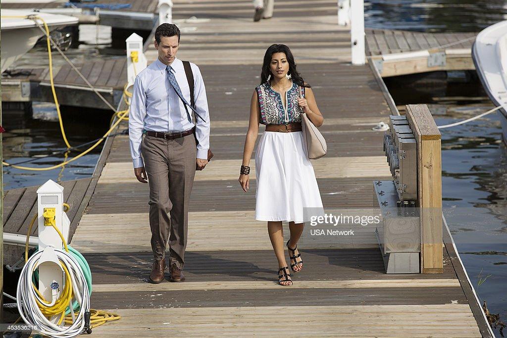 PAINS -- 'A Bigger Boat' Episode 612 -- Pictured: (l-r) Ben Shenkman as Jeremiah Sacani, Reshma Shetty as Divya Katdare --