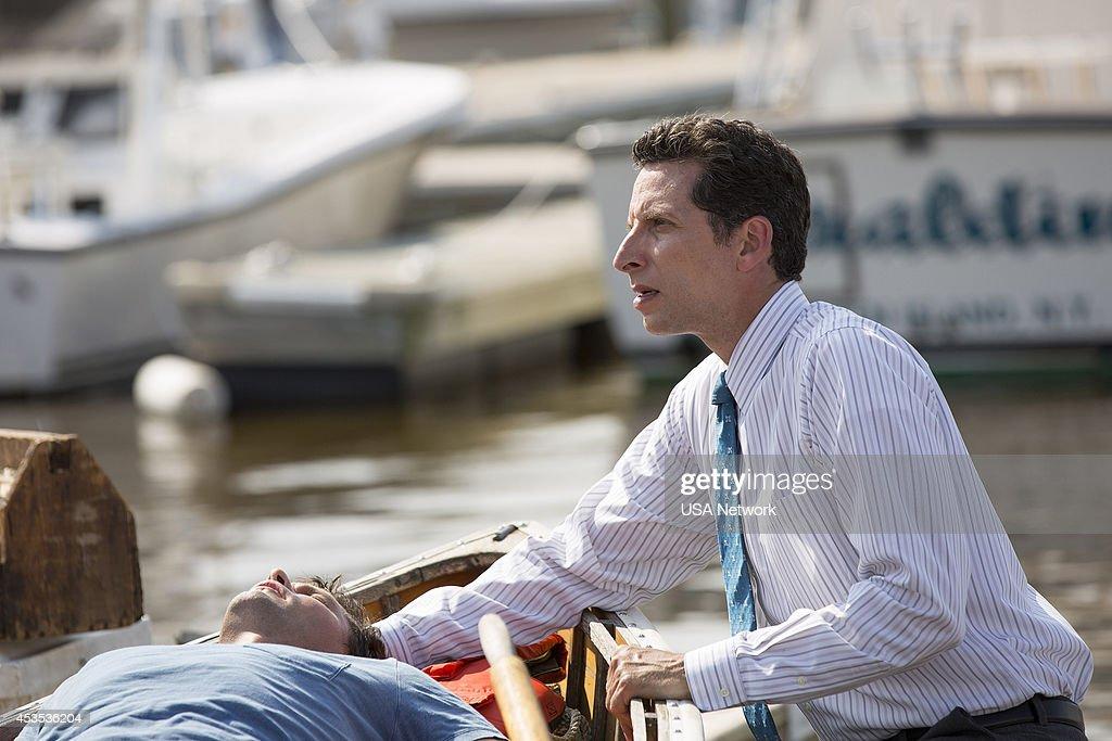 PAINS -- 'A Bigger Boat' Episode 612 -- Pictured: (l-r) Justin Bruening as Chase, Ben Shenkman as Jeremiah Sacani --
