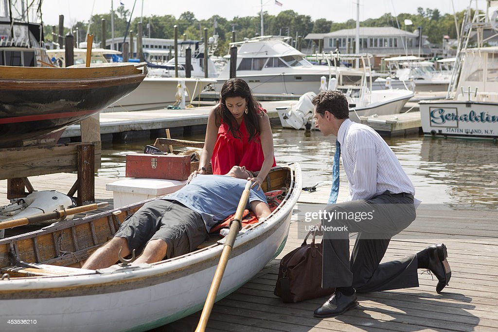 PAINS -- 'A Bigger Boat' Episode 612 -- Pictured: (l-r) Reshma Shetty as Divya Katdare, Justin Bruening as Chase, Ben Shenkman as Jeremiah Sacani --
