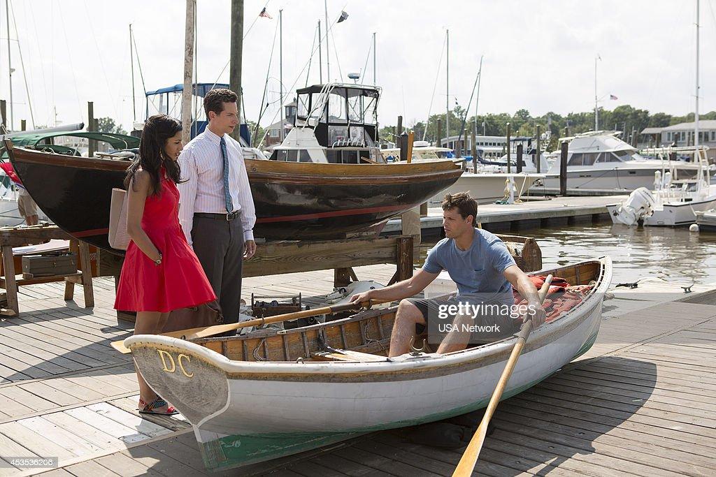 PAINS -- 'A Bigger Boat' Episode 612 -- Pictured: (l-r) Reshma Shetty as Divya Katdare, Ben Shenkman as Jeremiah Sacani, Justin Bruening as Chase --