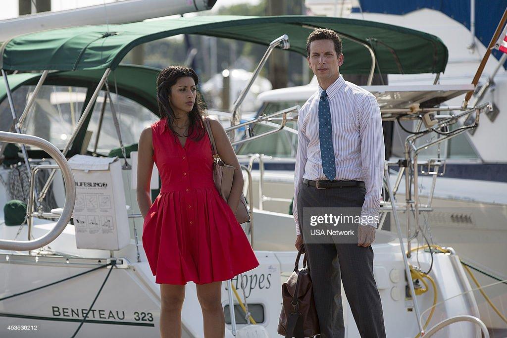 PAINS -- 'A Bigger Boat' Episode 612 -- Pictured: (l-r) Reshma Shetty as Divya Katdare, Ben Shenkman as Jeremiah Sacani --