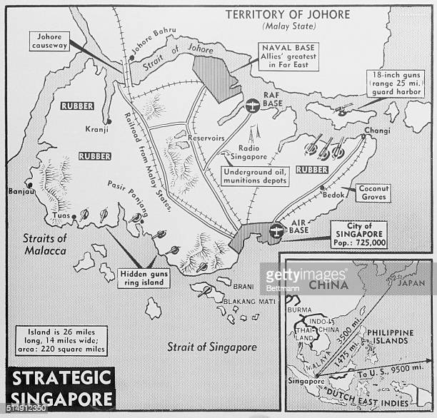 Biggest British base in the Far East is the island stronghold of Singapore haven for troops and planes and giant service station for allied warships...