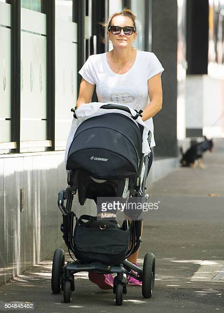 Biggest Loser trainer and new mum Michelle Bridges is seen with her son Axel in Potts Point on January 14 2016 in Sydney Australia