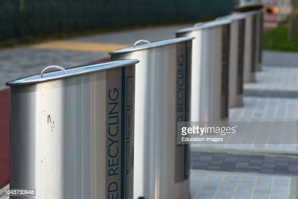 Biggest underground bin system in UK at new Cambridge district Eddington no wheelie bins steel bin chutes to large underground chamber