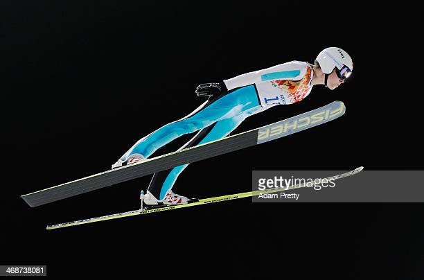 Bigna Windmueller of Switzerland jumps during the Ladies' Normal Hill Individual trial on day 4 of the Sochi 2014 Winter Olympics at the RusSki Gorki...