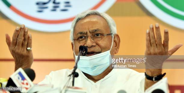 Bihar Chief Minister and JDU leader Nitish Kumar addresses a press conference on seat-sharing arrangements with the NDA for assembly elections, on...