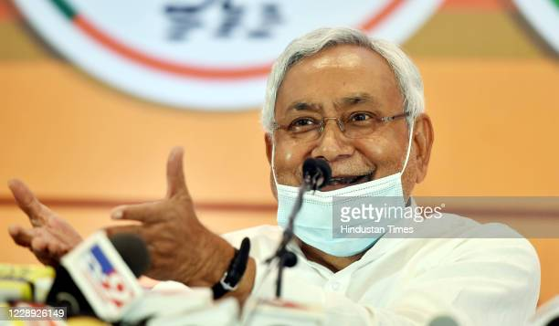 Bihar Chief Minister and JDU leader Nitish Kumar addresses a press conference on seat-sharing arrangement with the NDA for assembly elections, on...