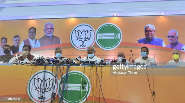 Bihar Chief Minister and JDU leader Nitish Kumar and Deputy CM Sushil Kumar Modi during a press conference on seats-sharing arrangement with the NDA...
