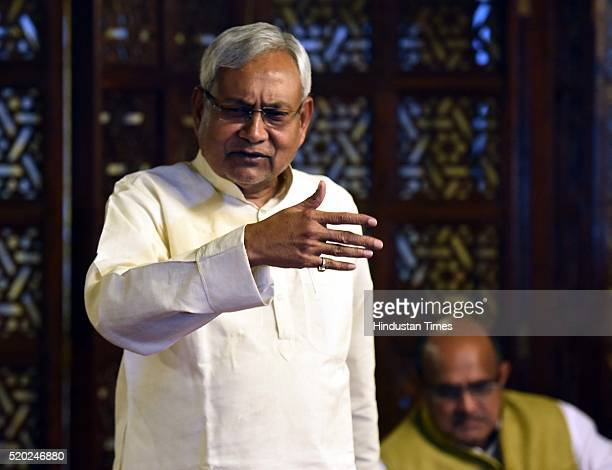 Bihar Chief Minister and newly elected JD National President Nitish Kumar after the JD National Executive Meeting at Parliament Annexes on April 10...