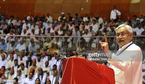 Bihar Chief Minister Nitish Kumar addressing convention of People Unity Against Communalism at Talkatora Stadium on October 30 2013 in New Delhi...