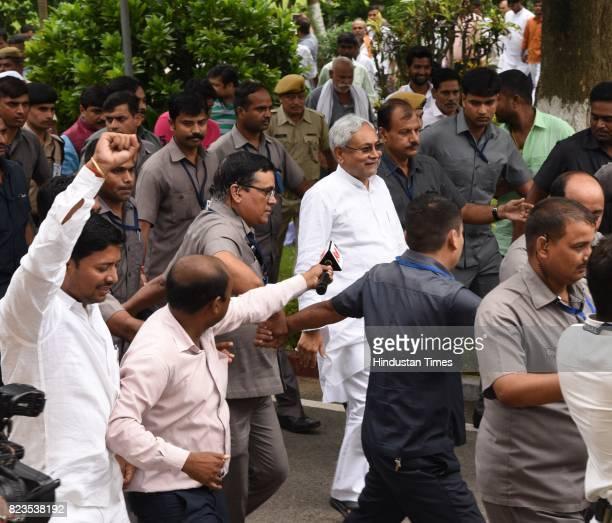 Bihar Chief Minister Nitish Kumar after taking oath at Raj Bhawan on July 27 2017 in Patna India Nitish Kumar walked back into the NDA fold after...