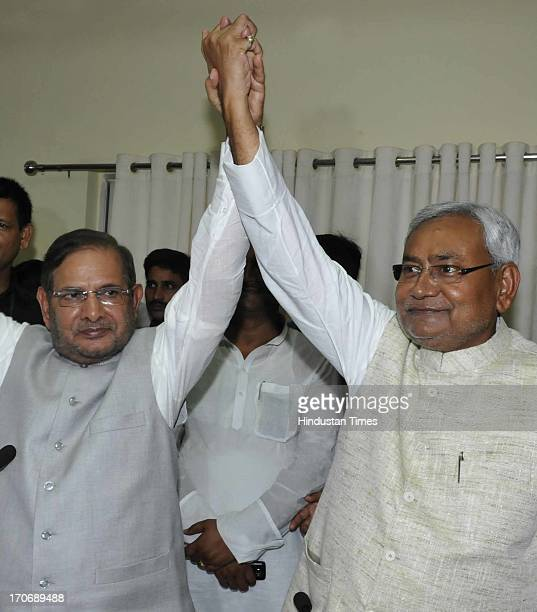 Bihar Chief Minister Nitish Kumar and JD President Sharad Yadav during the press conference after the breakup of NDA on June 16 2013 in Patna India...