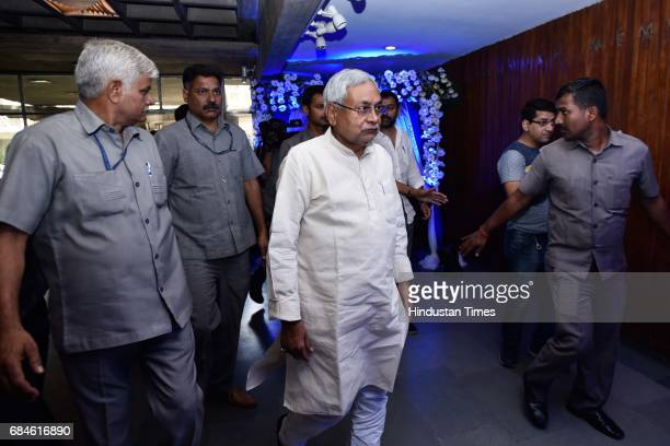 Bihar Chief Minister Nitish Kumar arrives to attend an event about river Ganga initiative at India International Center on May 18 2017 in New Delhi...