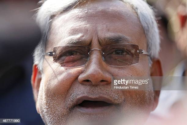Bihar Chief Minister Nitish Kumar coming out after a meeting and lunch with Delhi CM Arvind Kejriwal at Delhi Secretariat on March 27 2015 in New...