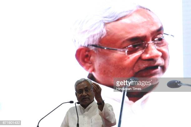 Bihar Chief Minister Nitish Kumar during a public rally gathering of his workers and supporters to mark its foray into Maharashtra politics at BEC...