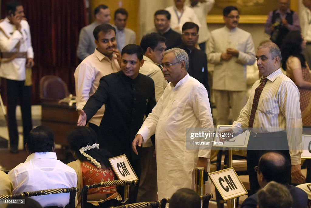 Bihar chief minister Nitish Kumar during the 13th VicePresident of India sworn ceremony by M Venkaiah Naidu at Darbar Hall Rashtrapati Bhawan on...