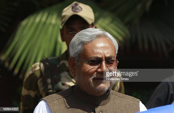 Bihar Chief Minister Nitish Kumar going to Finance Ministry for meeting with P Chidambaram at North Block on March 18 2013 in New Delhi India Kumar...