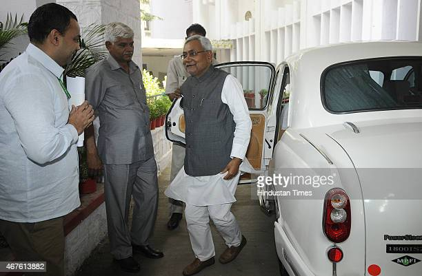 Bihar Chief Minister Nitish Kumar leaves Bihar Bhawan for the meeting with Prime Minister Narendra Modi at South Block on March 26 2015 in New Delhi...