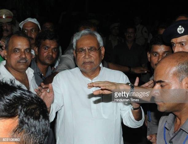 Bihar Chief Minister Nitish Kumar speaking to media after he submitted his resignation at Raj Bhawan on July 26 2017 in Patna India Nitish Kumar has...