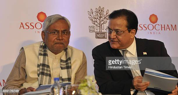 Bihar Chief Minister Nitish Kumar with Managing Director and CEO Yes Bank Rana Kapoor during a conference on Bihar Kal Aaj aur Kal Governance at the...