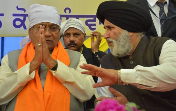Bihar Chief Minister Nitish Kumar with Punjab Education Minister Daljit Singh Cheema outside Golden Temple on February 19 2017 in Amritsar India SGPC.