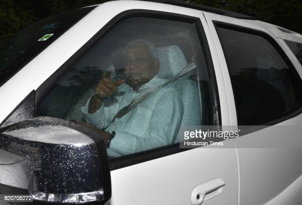 Bihar CM Nitish Kumar leaves after meeting with Congress Vice President Rahul Gandhi wherein they discussed the current political situation at his...