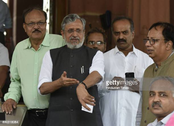 Bihar Deputy Chief Minister Sushil Modi during Monsoon Session at Parliament on August 11 2017 in New Delhi India