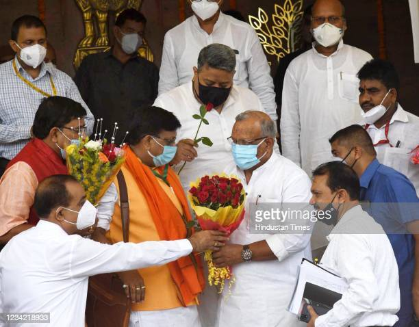 Bihar Deputy Chief Minister Tarkishore Prasad being greeted by legislators on the first day of Monsoon Session at Bihar Assembly on July 26, 2021 in...