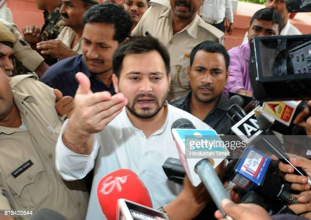 Bihar Deputy Chief Minister Tejaswi Yadav arrives for cabinet meeting on July 12 2017 in Patna India Bihar Deputy Chief Minister Tejashwi Yadav found...