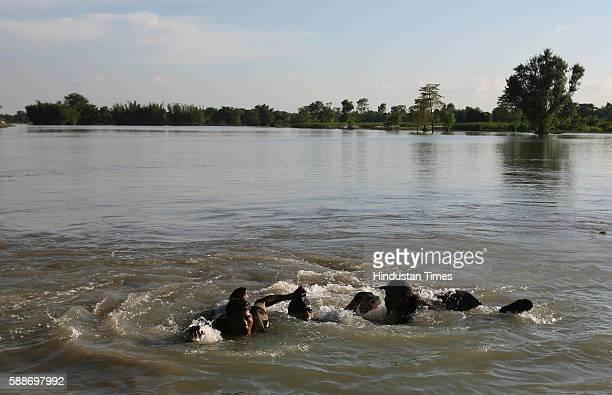 Bihar Monsoon Floods Bravery Swimming Rajesh and Ravichandra Sappers from the Flood Relief Coloumn of 59 Engineer Regiment save drowning Pankaj 26 of...