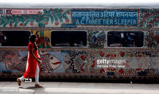 Bihar Sampark Kranti painted with Mithila Art arrives in New Delhi