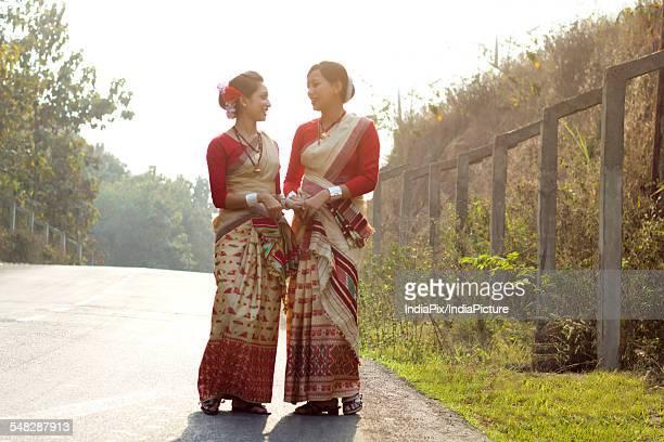Bihu dancers talking