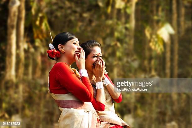 Bihu women dancers laughing