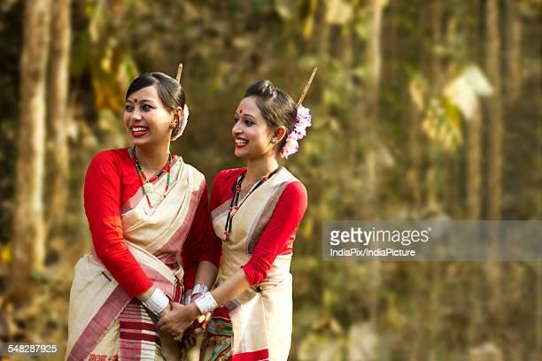 Bihu women dancers smiling