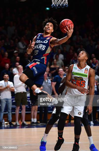 Bijan Johnson of the Adelaide 36ers heads for the basket during the round seven NBL match between the Adelaide 36ers and the Cairns Taipans at...