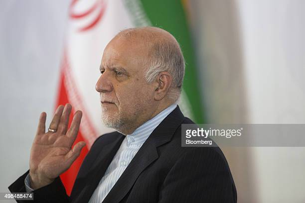 Bijan Namdar Zangeneh Iran's oil minister gestures during a news conference at the Gas Exporting Countries Forum summit in Tehran Iran on Monday Nov...