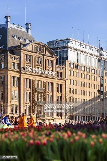 Bijenkorf Department store and tulip field
