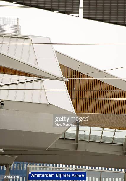 Bijlmer Arena Amsterdam Netherlands Architect Grimshaw Bijlmer Arena Detail Of Canopy And Station Sign