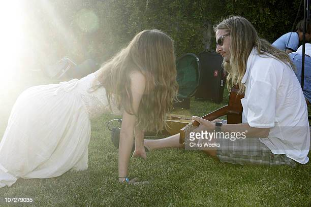 Bijou Phillips and Jerry Cantrell during No Ten by Tanqueray hosts Angela Lindvall's Pool Party Benefitting The Collage Foundation at Private...