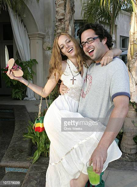 Bijou Phillips and Jose Martinez during No. Ten by Tanqueray hosts Angela Lindvall's Pool Party Benefitting The Collage Foundation at Private...
